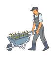 farmer man walking with metal wheel barrow