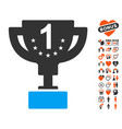 first prize cup icon with love bonus vector image vector image