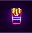 fried potato neon sign vector image