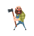 funny bald lumberjack posing with his axe cartoon vector image vector image