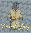 gorilla with burger and french vector image vector image
