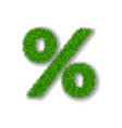 grass symbol percent green percent isolated on vector image vector image