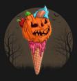 halloween pink ice cream cone with a pumpkin head vector image vector image