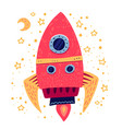 hand drawn cartoon rocket childish doodle space vector image vector image