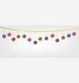 hanging chirstmas balls in white background vector image
