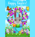 happy easter holiday cartoon poster bunny vector image vector image