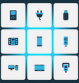 hardware icons colored set with loudspeaker music vector image