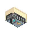 isometric network server room with row computer vector image vector image