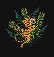 japanese tigers with tropical leaves wild animal vector image