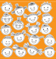 kid heads in black color on white background vector image vector image