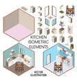kitchen interior constructor flat vector image