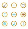 kitchenware icons set cartoon style vector image
