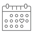 love calendar thin line icon romance and love vector image