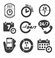 open 24 hours a day and 7 days a week icons vector image vector image