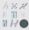Original letters H set isolated on light gray vector image