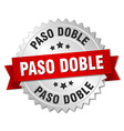 paso doble 3d silver badge with red ribbon vector image vector image