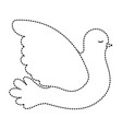 pigeon peace side view on dotted silhouette vector image vector image