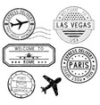 postmarks and travel stamps plane symbol vector image vector image