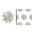 print and seamless pattern set with flowers vector image