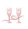 red champagne glass hearts with ribbon vector image vector image
