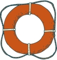 Red Lifebuoy with Rope vector image vector image