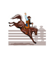 Rodeo Cowboy Riding Bucking Bronco Horse vector image vector image