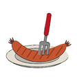 sausage on dish vector image vector image