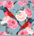 seamless pattern with birds and roses vector image vector image