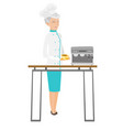 senior caucasian chef making coffee vector image vector image