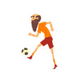 senior man playing soccer grandpa having fun vector image vector image