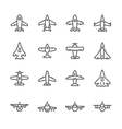 set line icons plane vector image vector image