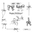 set of hand drawn sketch holiday satin bow vector image