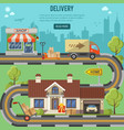 shopping and delivery concept vector image vector image