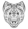 Sketch black and white dog head Zen-tangle vector image vector image
