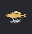 smoked fish logo fish with lemon and rosemary vector image