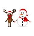 Snowman with reindeer standing vector image vector image