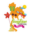 songkran festival thailand map flip flop vector image vector image