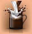 splash coffee and milk in a glass mug vector image