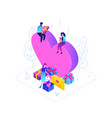 valentines day - modern colorful isometric vector image vector image