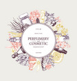 vintage perfumery and cosmetics set vector image vector image