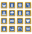 water icons set blue square vector image