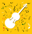 white violins with notes on yellow background vector image