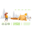 woman cartoon character at campsite tent in vector image