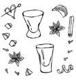 shot glass sketch hand drawn vector image