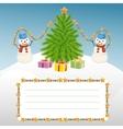 Christmas template with snowman and Christmas tree vector image