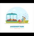 amusement park family fun banner template vector image vector image