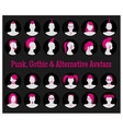 Anonymous Goth Punk and Alternative Avatars vector image vector image