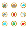armament icons set cartoon style vector image vector image