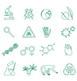biology simple green outline icons set eps10 vector image vector image