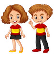 boy and girl wearing shirt with spain flag vector image vector image